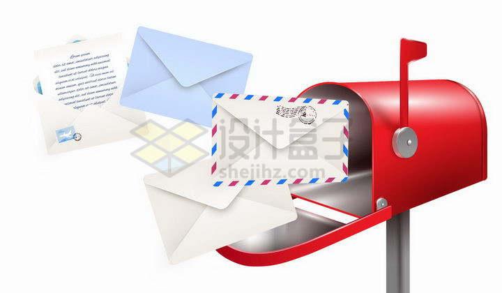 逼真的红色邮箱和里面飞出来的邮件png图片免抠矢量素材