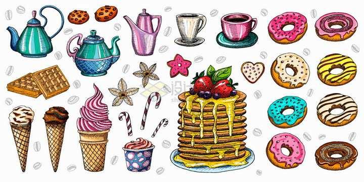 水壶咖啡杯华夫饼甜筒甜甜圈蜂蜜蛋糕等美食彩绘插画png图片免抠矢量素材