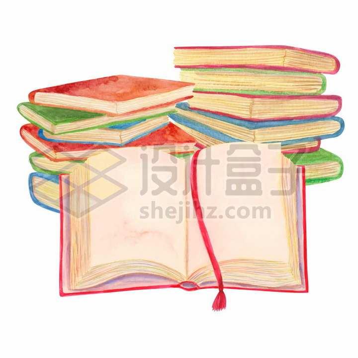 世界读书日堆放在一起和打开的书本水彩画插画png图片免抠矢量素材
