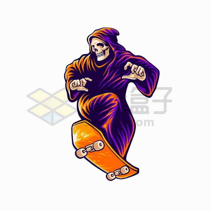 死神玩滑板抽象插画png图片免抠矢量素材