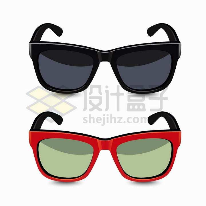 逼真的黑色和红色镜框的眼镜太阳镜墨镜png图片免抠矢量素材