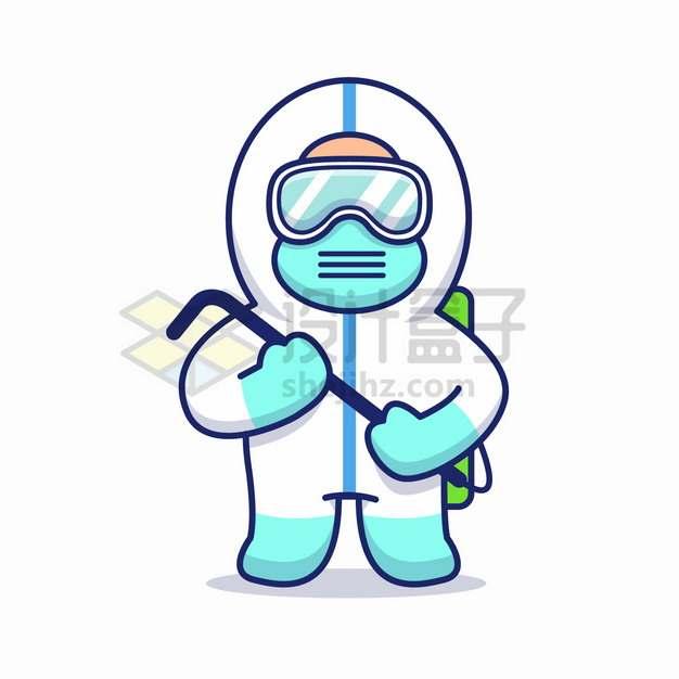 戴着护目镜穿着防护服的卡通医生医护人员新型冠状病毒png图片素材