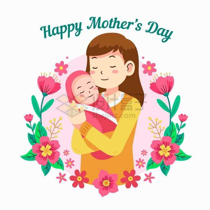 卡通年轻妈妈抱着自己的孩子被鲜花装饰母亲节png图片免抠矢量素材