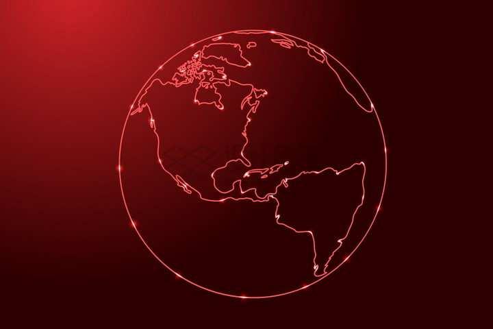 发光红色线条勾勒的地球png图片免抠矢量素材