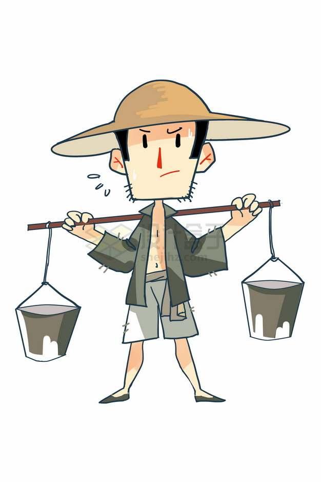 用扁担挑水的卡通农民挑担子png图片素材