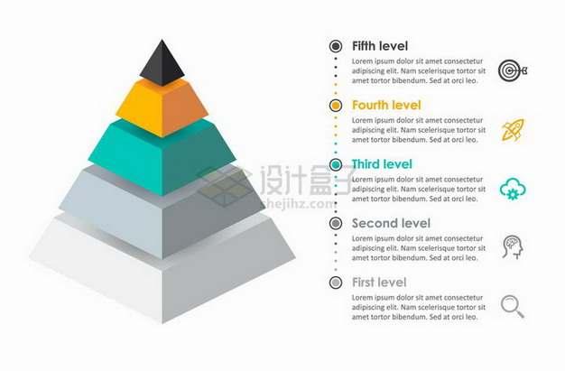 分离式金字塔形PPT信息图表png图片免抠矢量素材