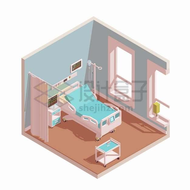 2.5D风格医院病房病床场景png图片素材