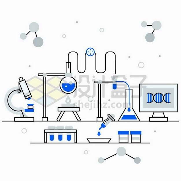 MBE双色风格显微镜烧瓶试管等生物化学实验仪器png图片免抠矢量素材