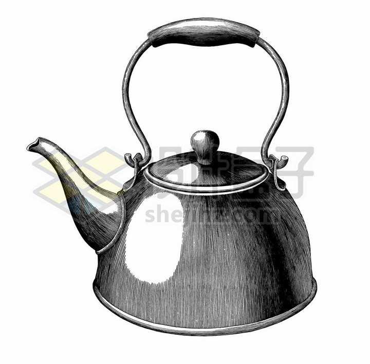 烧水壶厨房用品手绘素描插画png图片免抠矢量素材