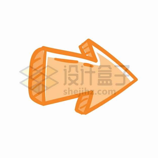 橙色卡通手绘方向箭头涂鸦箭头png图片素材