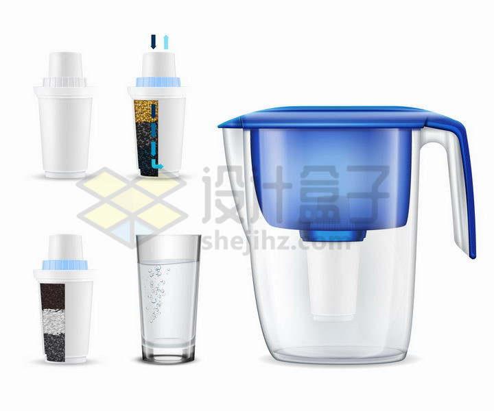 半透明家用滤水器滤水壶净水壶过滤净水器结构解剖图和水杯png图片免抠矢量素材
