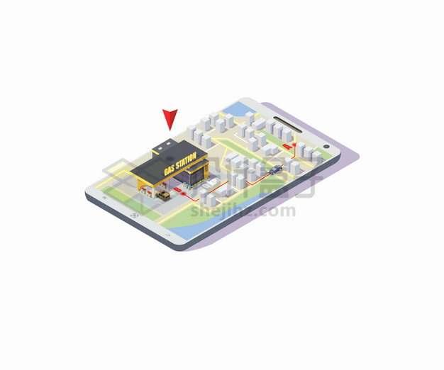 2.5D风格手机导航中的加油站和去的路线指引png图片素材