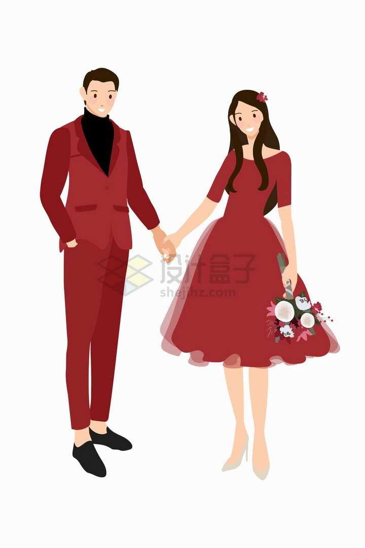 身穿红色婚纱礼服的结婚新人扁平插画png图片免抠矢量素材