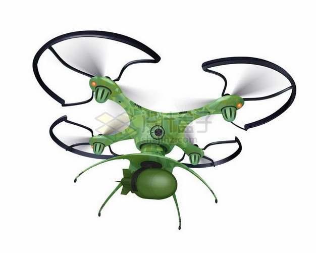 一款军绿色涂装的四轴飞行器无人机png图片免抠矢量素材