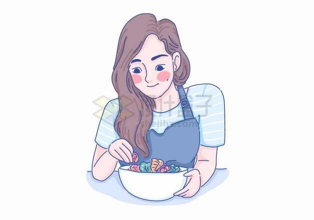 卡通女孩准备吃东西彩绘插画png图片素材