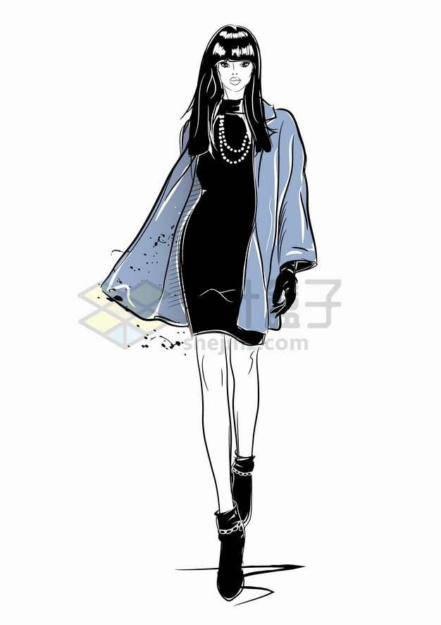 走猫步的模特儿手绘插画png图片素材