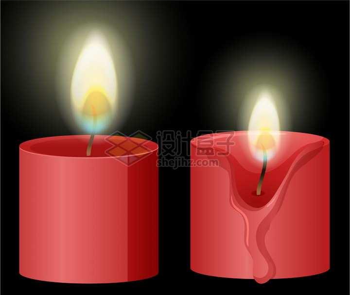 燃烧着的红色蜡烛png图片素材