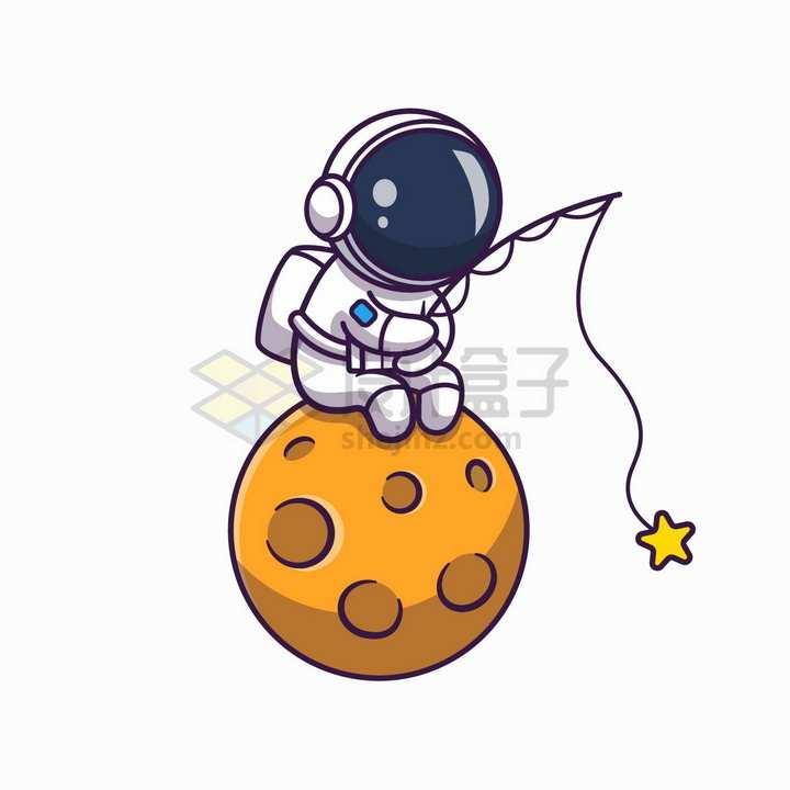 卡通宇航员坐在外星球上钓星星png图片免抠矢量素材