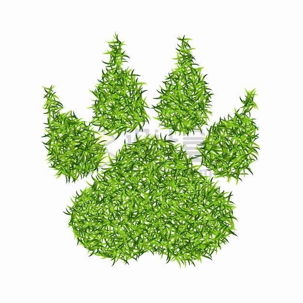 绿色青草草坪组成的猫爪子狗爪子图案png图片素材