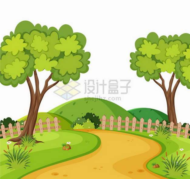 春天乡村草地泥土路大树和木栅栏插画png图片免抠矢量素材