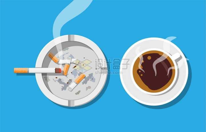烟灰缸上的香烟和咖啡杯俯视视角png图片素材