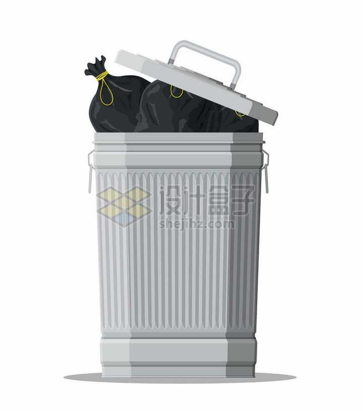 放满垃圾的垃圾桶png图片素材