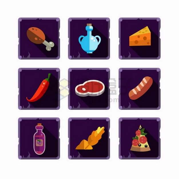 9款卡通鸡腿水壶奶酪辣椒牛排香肠等游戏道具png图片免抠矢量素材