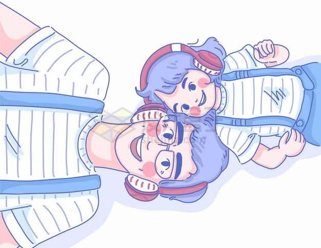 头靠头躺在地上听音乐的卡通爸爸和女儿父亲节亲子关系彩绘插画png图片素材