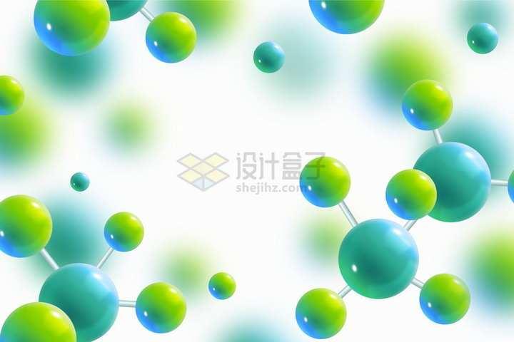 绿色3D立体圆球组成的分子结构模型背景图png图片免抠矢量素材