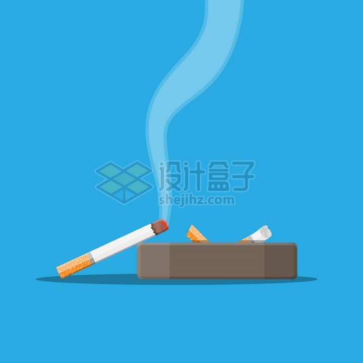在烟灰缸上冒烟的香烟侧视图png图片素材