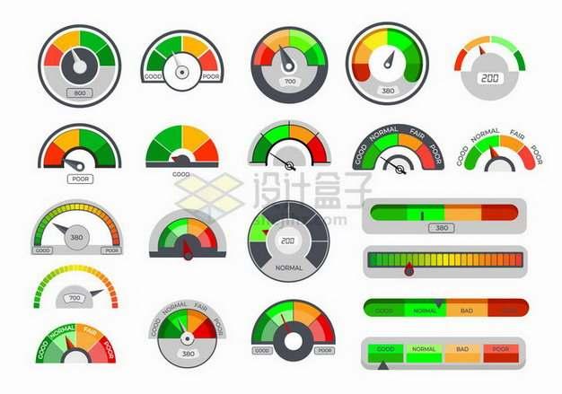 各种彩色的速度表指示表png图片免抠矢量素材