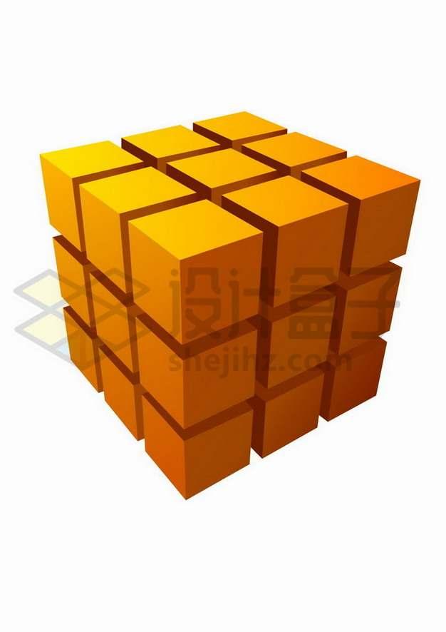 橙色立方体矩阵魔方png图片免抠矢量素材