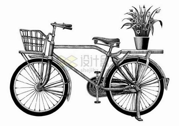 老式复古自行车后座架上有盆栽手绘素描插画png图片免抠矢量素材