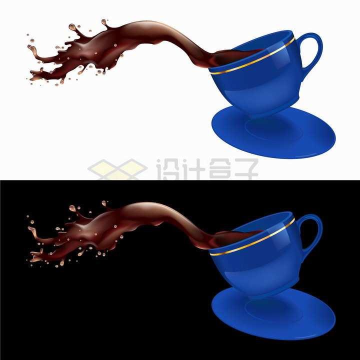 泼倒的蓝色咖啡杯中撒出来的咖啡png图片免抠矢量素材