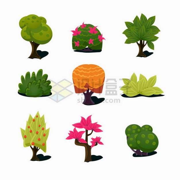 9款卡通树木草丛花朵等游戏道具png图片免抠矢量素材