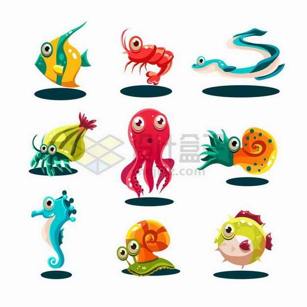 卡通龙虾海蛇螃蟹章鱼鹦鹉螺海马河豚等水族馆动物png图片免抠矢量素材