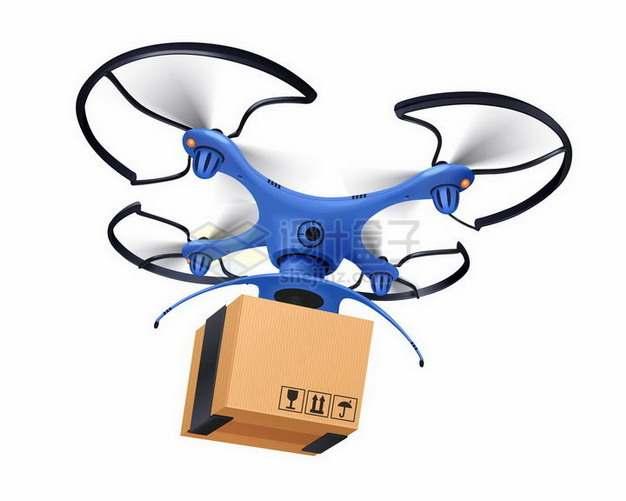 一款蓝色四轴飞行器无人机送快递png图片免抠矢量素材