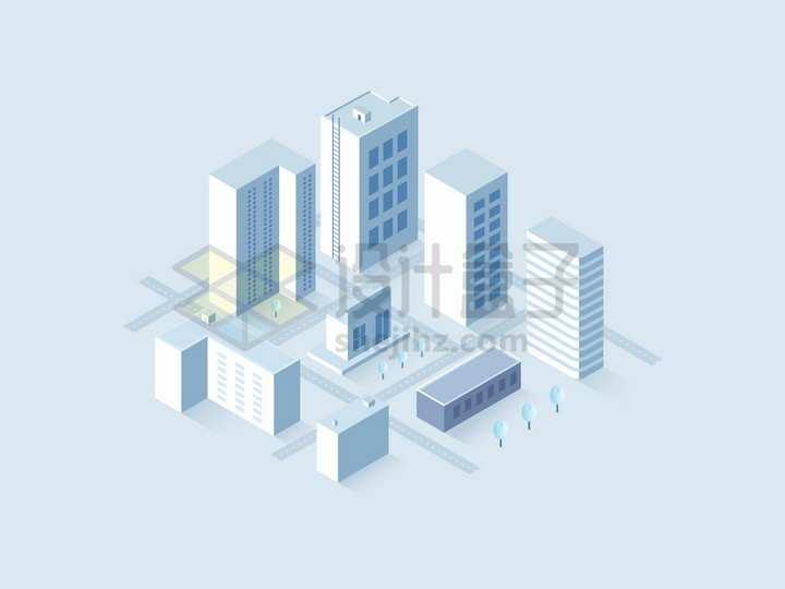 2.5D风格城市建筑高楼大厦和街道模型png图片免抠矢量素材