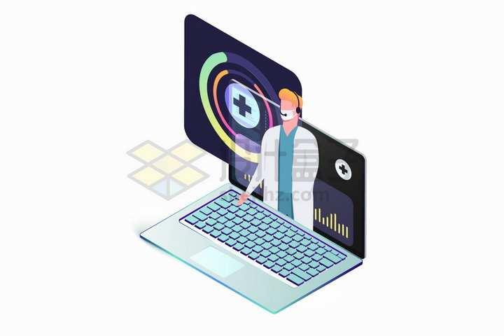 笔记本电脑上的医生远程医疗服务png图片免抠矢量素材