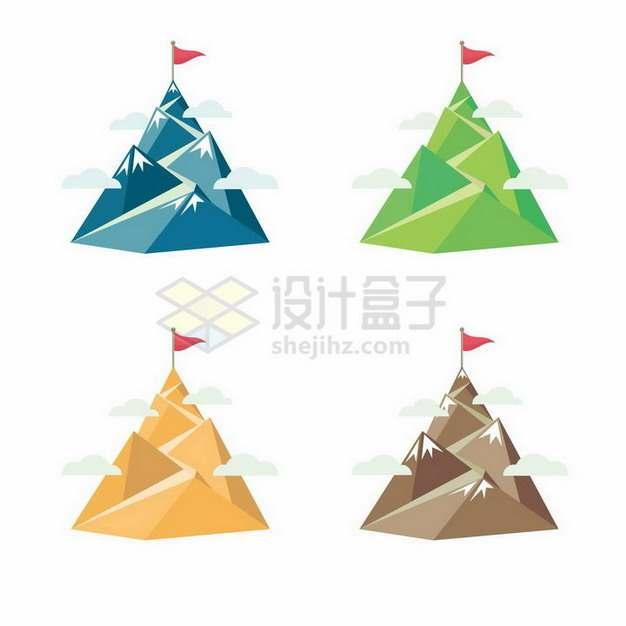 4款彩色的扁平化风格山顶山峰png图片免抠矢量素材