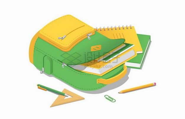 倒下的书包中装满了书本铅笔三角尺等学习用品png图片免抠矢量素材