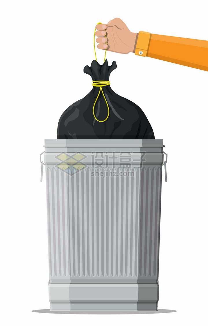 把装满垃圾的垃圾袋扔进垃圾桶中png图片素材