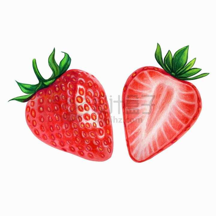 两颗切开的草莓美味水果水彩插画png图片免抠矢量素材