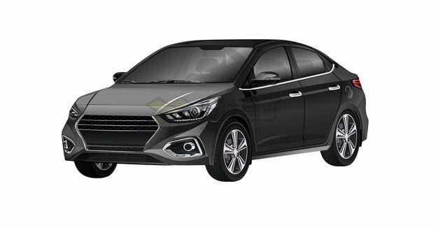 一辆黑色的小轿车汽车侧前方视图png图片素材