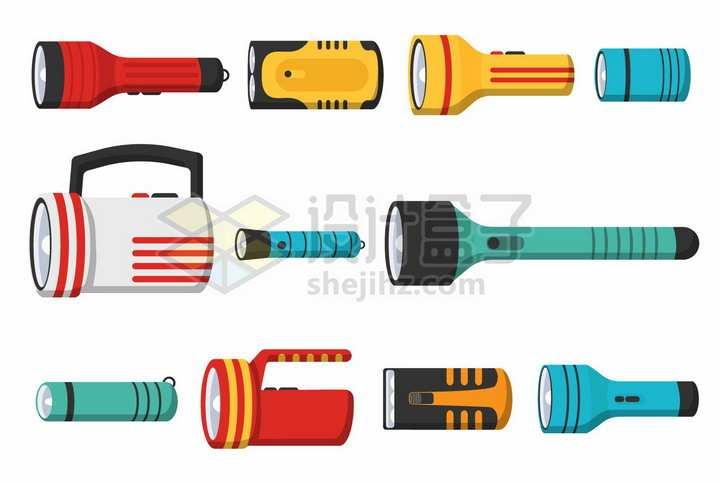 各种LED强光手电筒照明工具png图片免抠矢量素材