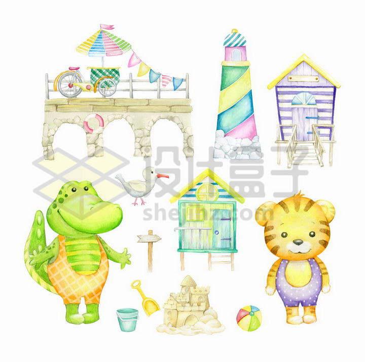 彩绘儿童画风格石桥灯塔卡通鳄鱼老虎png图片免抠矢量素材