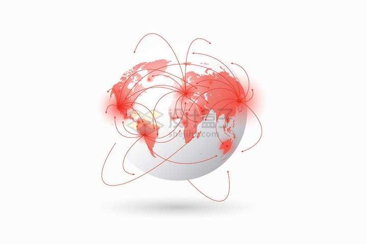 白色立体地球模型上红色线条象征了新型冠状病毒在全球传播png图片免抠矢量素材