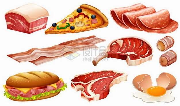 带皮五花肉披萨香肠培根牛排鸡蛋等美味美食png图片免抠矢量素材