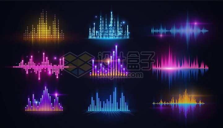 9款彩色绚丽的EQ均衡器音乐调音png图片免抠矢量素材
