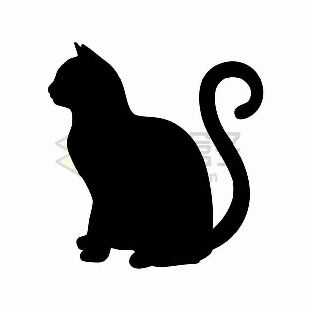 猫咪侧影剪影png图片素材